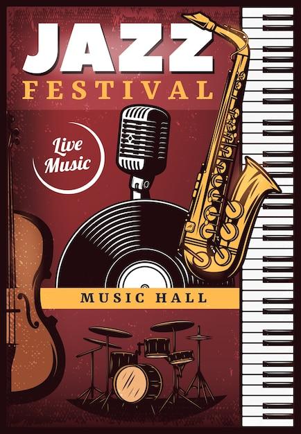 Cartel de música de jazz de color vintage vector gratuito
