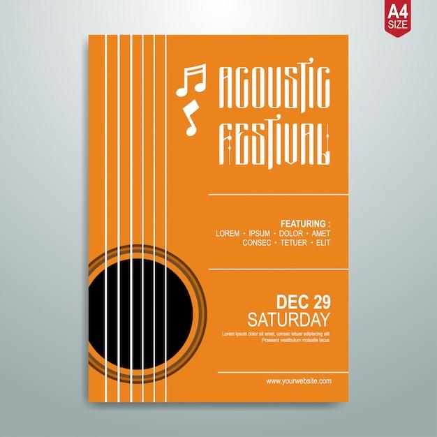 Cartel de música minimalista. Vector Premium