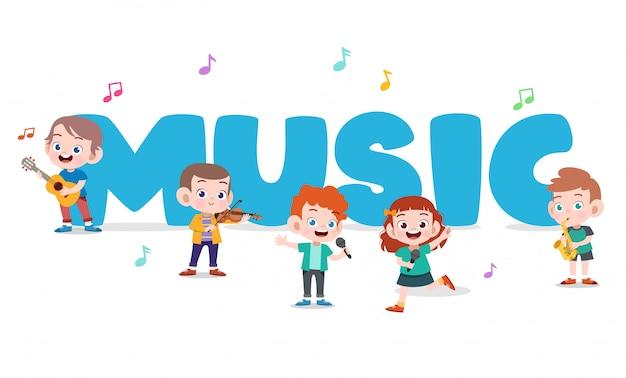 Cartel de música para niños Vector Premium