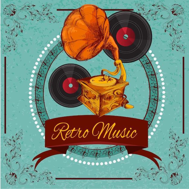 Cartel de musica retro vector gratuito