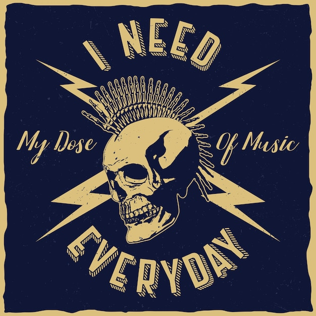 Cartel de música rock con la frase necesito mi dosis de música todos los días. vector gratuito
