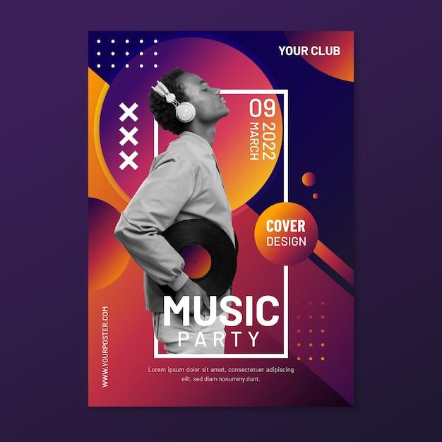 Cartel musical de memphis con foto vector gratuito
