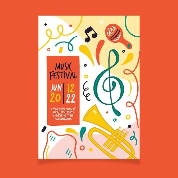 Cartel musical con tuba vector gratuito