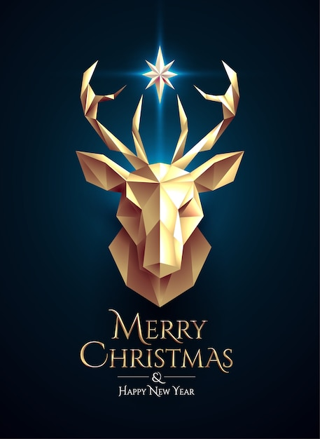 Cartel navideño con cabeza de ciervo dorado de baja poli y estrella brillante entre cuernos Vector Premium