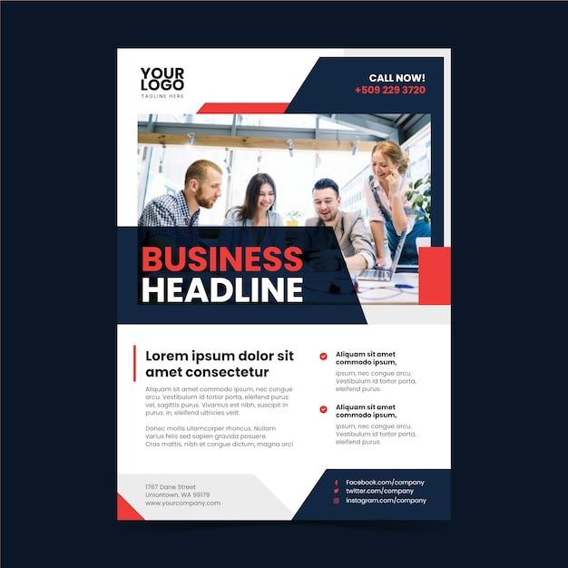 Cartel de negocio abstracto con foto de personas que trabajan Vector Premium