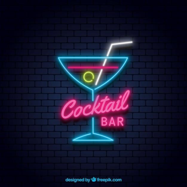 Cartel de neón con cóctel colorido vector gratuito