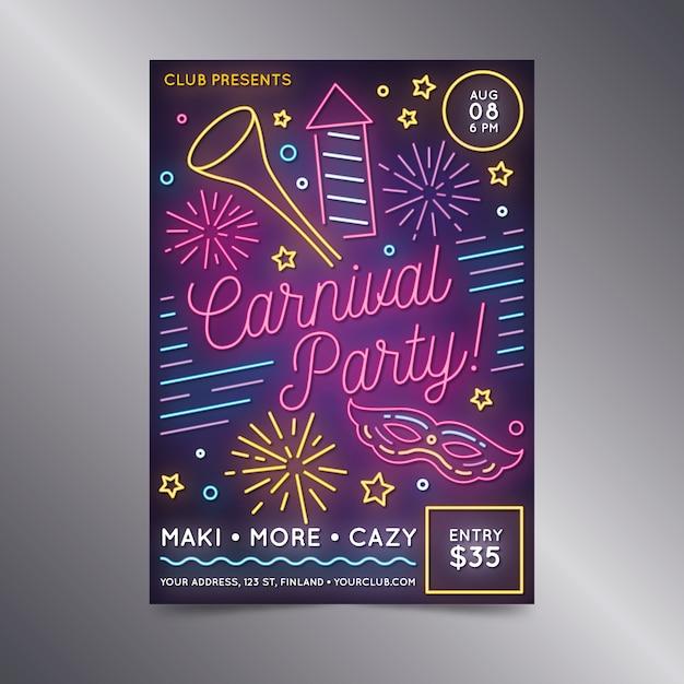 Cartel de neón de fiesta de carnaval con fuegos artificiales vector gratuito
