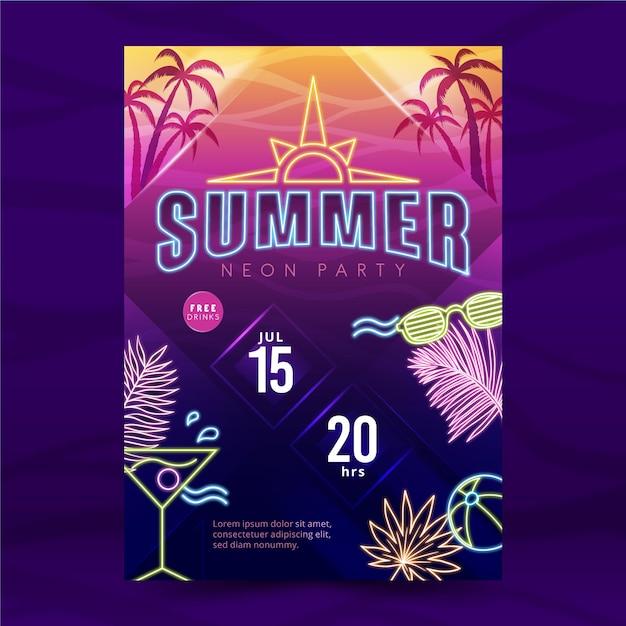 Cartel de neón de fiesta de verano con cóctel vector gratuito