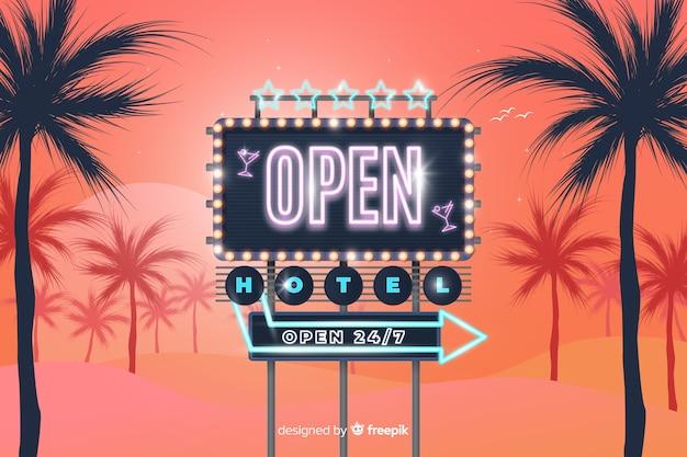 Cartel neon de hotel vector gratuito