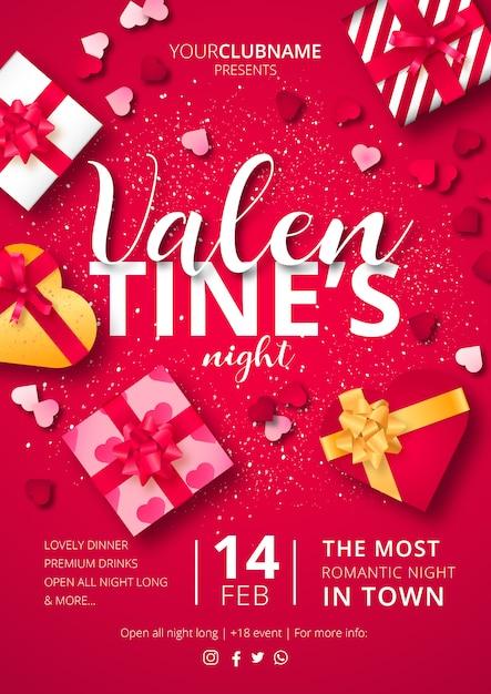 Cartel de la noche de san valentín con regalos listos para imprimir vector gratuito