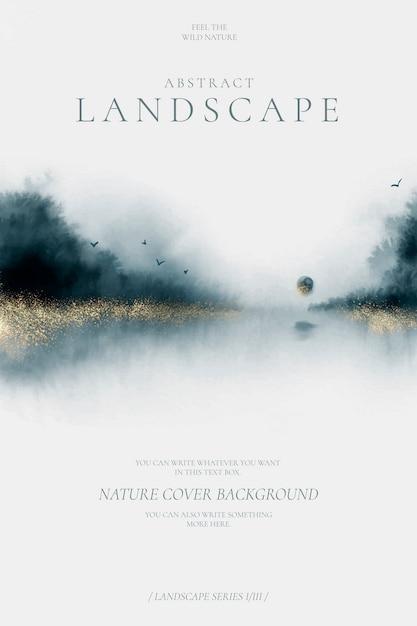 Cartel de paisaje abstracto en azul marino y dorado vector gratuito