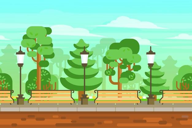 Cartel del paisaje del jardín del verano vector gratuito