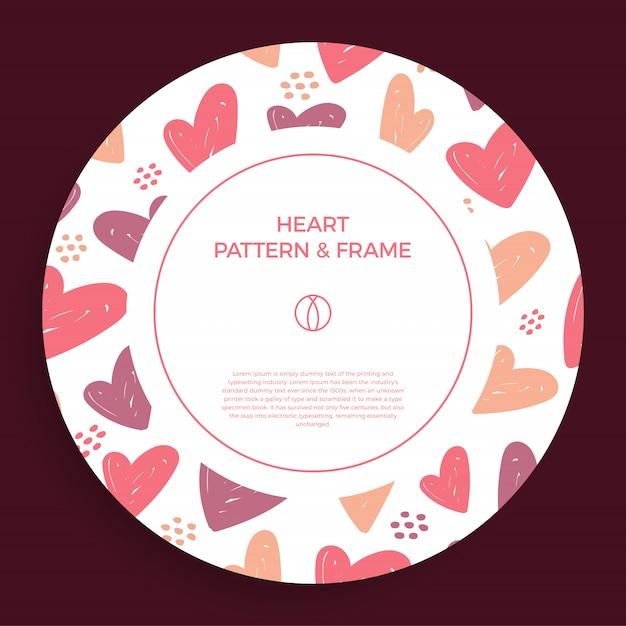 Cartel, pancarta o tarjeta borde del marco con la mano del amor dibujar el patrón de corazón de color de moda Vector Premium