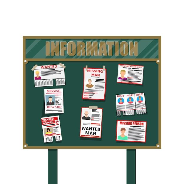 Cartel de papel de persona buscada. falta anunciar Vector Premium