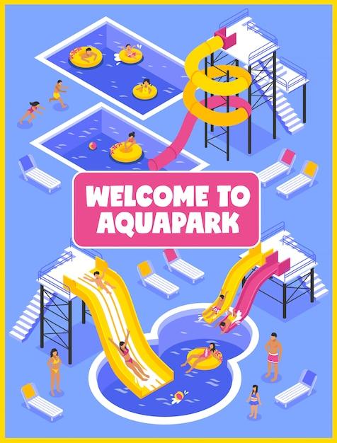 Cartel del parque acuático Vector Premium