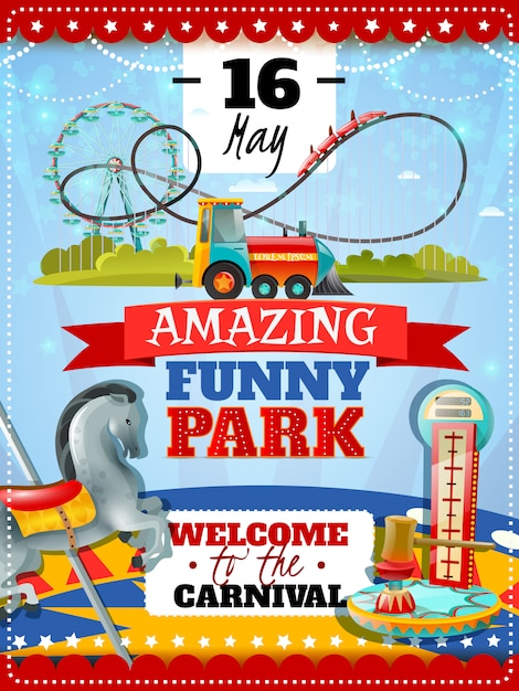 Cartel del parque de atracciones vector gratuito
