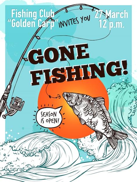 Cartel de la pesca de la publicidad dibujada a mano vector gratuito