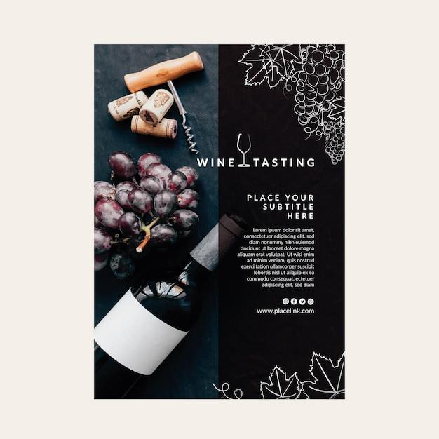 Cartel de plantilla de cata de vinos vector gratuito