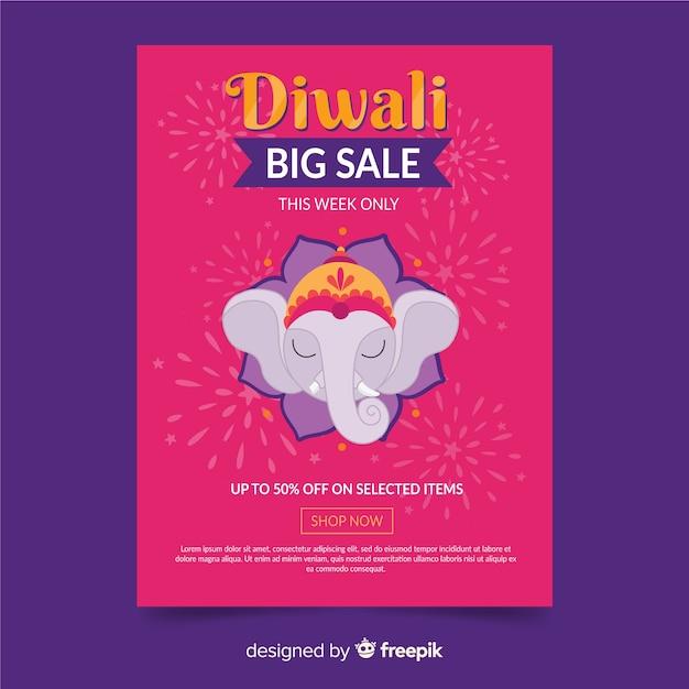 Cartel de plantilla diwali venta dibujado a mano vector gratuito