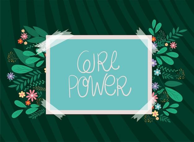 Cartel de poder de niña con diseño de vector de hojas y flores Vector Premium