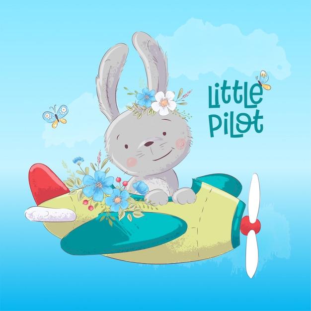 Cartel postal lindo conejito en el avión y flores en estilo de dibujos animados Vector Premium
