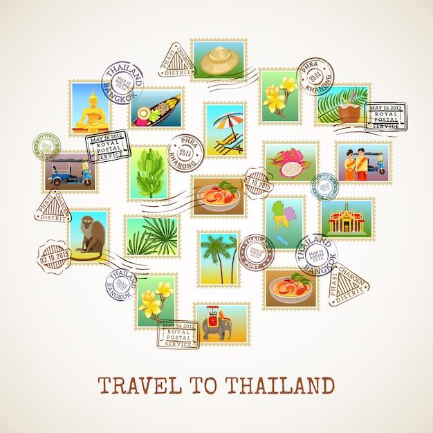 Cartel de la postal de tailandia vector gratuito