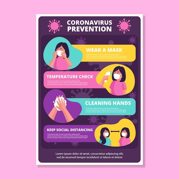 Cartel de prevención de coronavirus vector gratuito