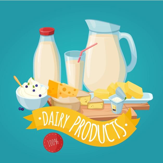 Cartel de productos lácteos vector gratuito