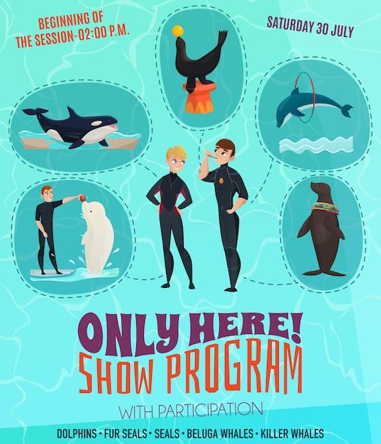 Cartel del programa del espectáculo del delfinario vector gratuito