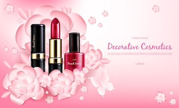 Cartel de promoción cosmética realista vector vector gratuito