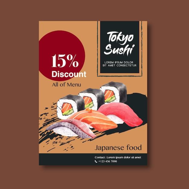 Cartel de promoción para restaurante de sushi vector gratuito