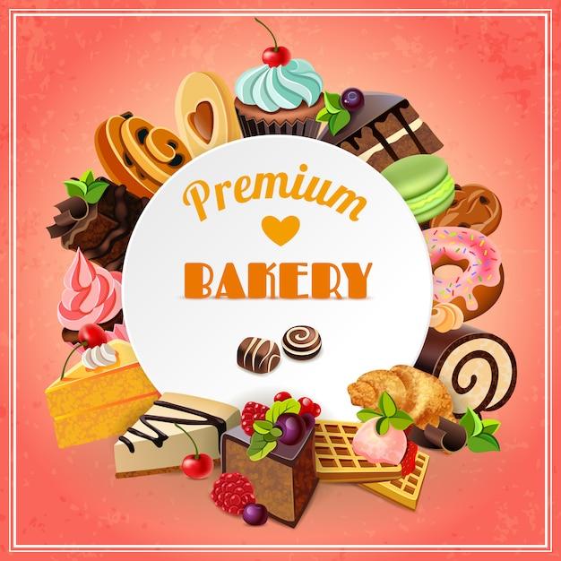 Cartel promocional de panadería vector gratuito