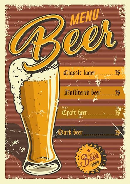 Cartel de pub vintage. vector gratuito