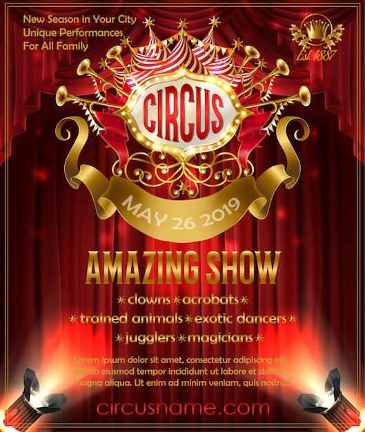 Cartel publicitario para espectáculo de circo increíble, invitación a circo performance. vector gratuito
