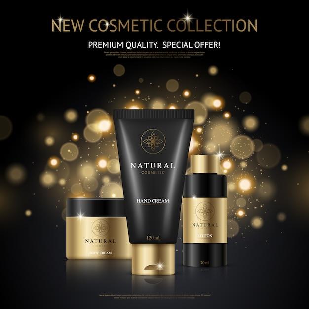 Cartel publicitario de marca cosmética con colección de productos de belleza y empaque con manchas doradas. vector gratuito