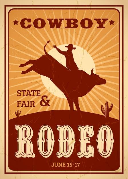 Cartel publicitario de rodeo en estilo retro con vaquero montando caballo salvaje vector gratuito