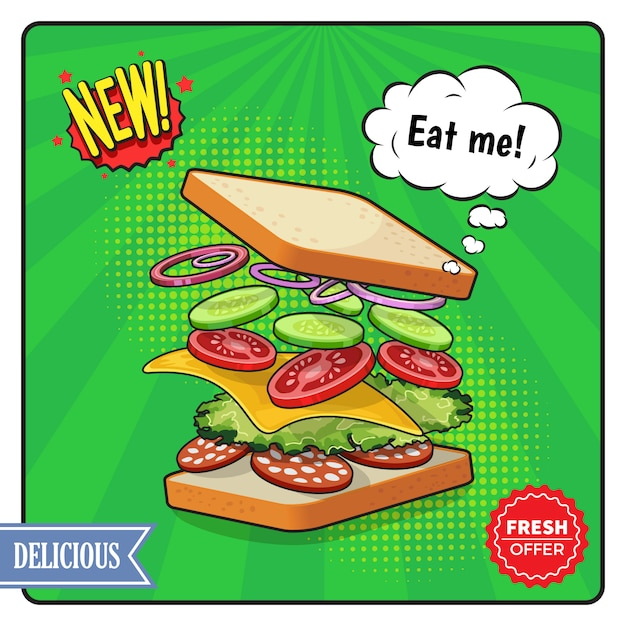 Cartel publicitario de sándwich en estilo cómico vector gratuito