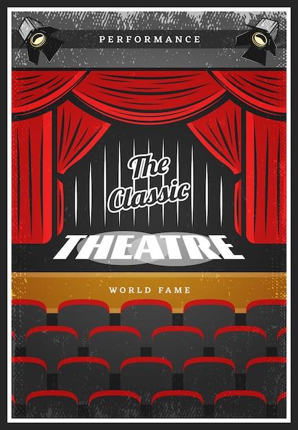 Cartel publicitario de teatro coloreado vintage vector gratuito