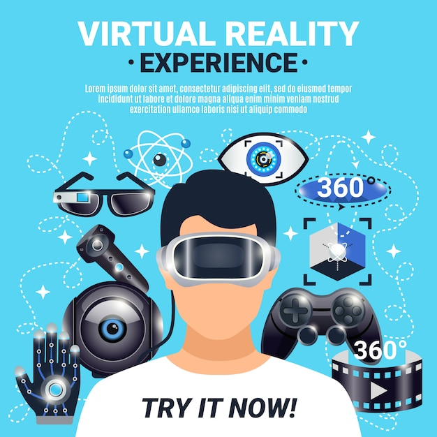 Cartel de realidad virtual vector gratuito
