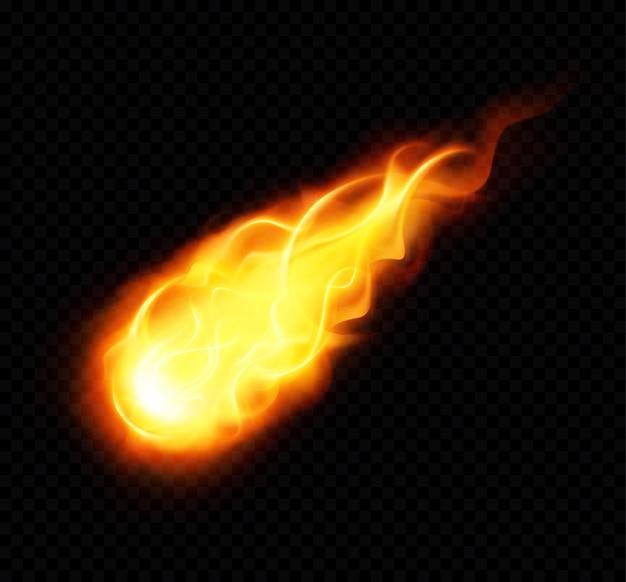 Cartel realista de bola de fuego con ardiente objeto astronómico volador amarillo sobre fondo negro vector gratuito