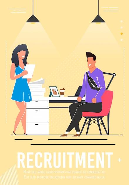 Cartel de reclutamiento con candidato a entrevista Vector Premium