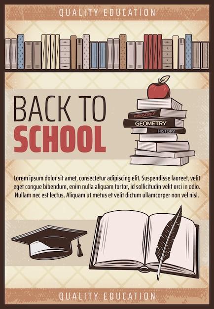 Cartel de regreso a la escuela de color vintage con libros de texto, tapa de graduación de pluma de cuaderno de manzana vector gratuito