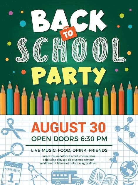 Cartel de regreso a la escuela. plantilla de cartel escolar o educación posterior para la fiesta del evento escolar Vector Premium