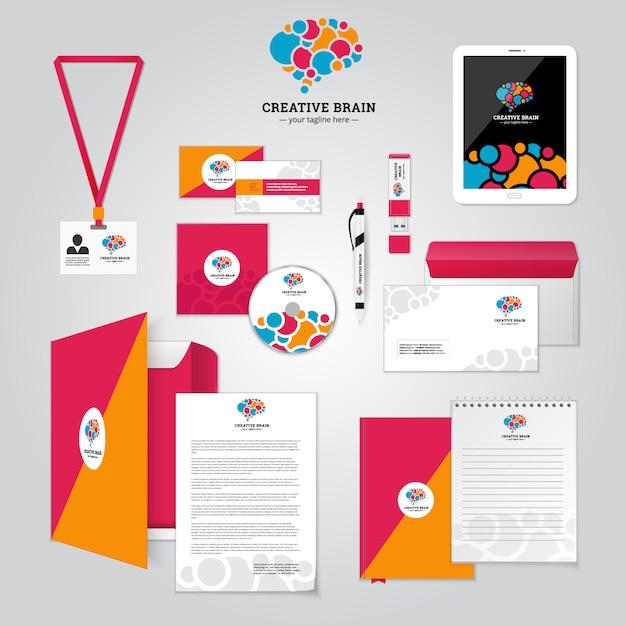 Cartel de relación social e identidad corporativa. vector gratuito