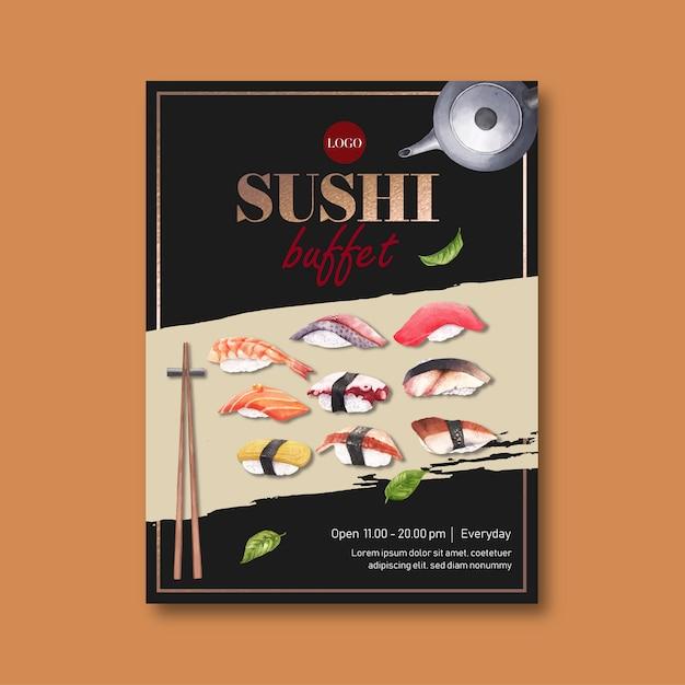 Cartel para restaurante de sushi vector gratuito