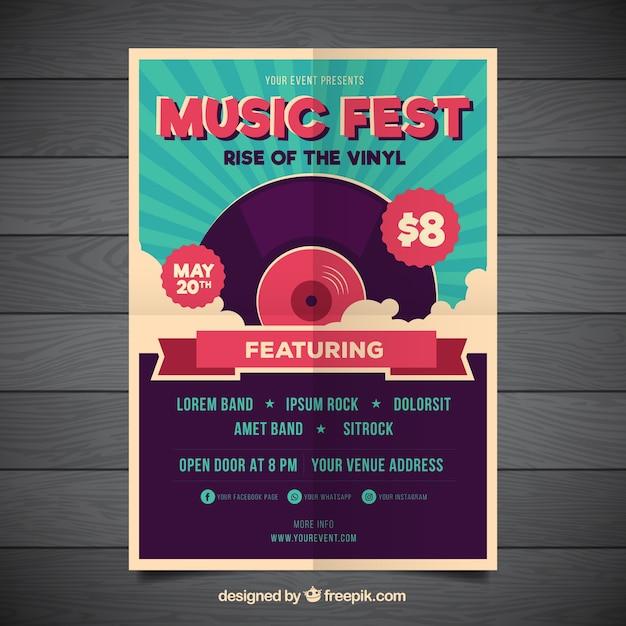 Cartel retro de fiesta de música vector gratuito