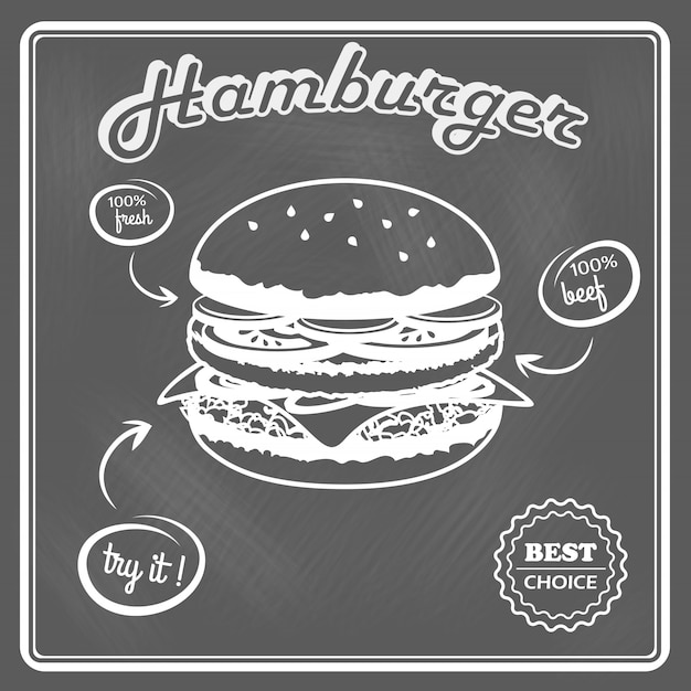 Cartel retro hamburguesa Vector Premium