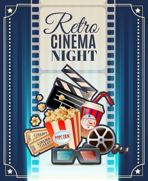 Cartel retro de la invitación de la noche del cine vector gratuito