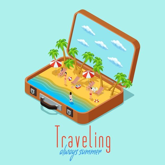 Cartel retro isométrico del estilo del viaje de las vacaciones vector gratuito