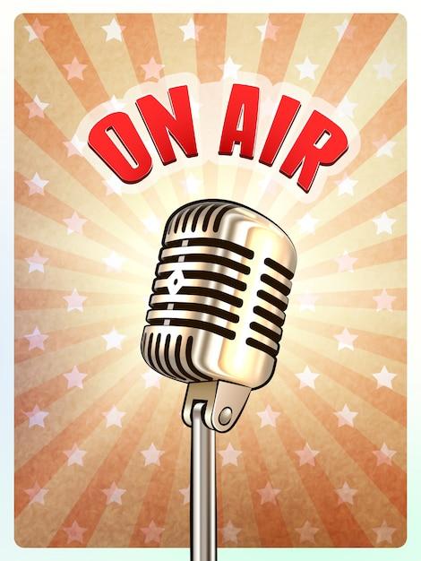 Cartel retro del micrófono en el fondo del aire vector gratuito